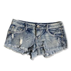 ALMOST FAMOUS BLING DISTRESSED FRAYED DENIM SHORTS